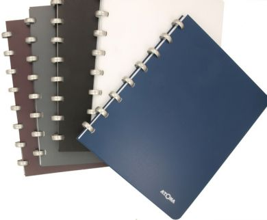 Disc-bound notebooks with opaque covers and aluminium discs filled with white paper.