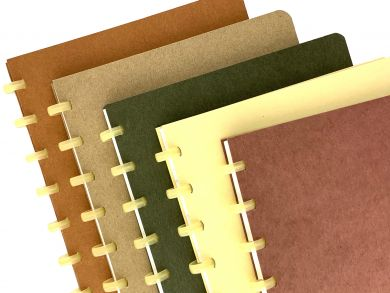 Bio style notebooks with recycled covers, bio-degradable discs and white 90gsm paper