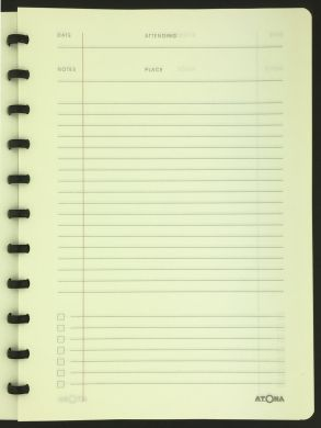 A4 Meeting Book with Cream Meeting Log Pages with Lined Notes Area