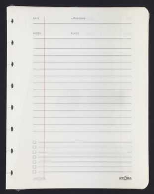 A5 Refill with Cream Meeting Log Pages with Lined Notes Area