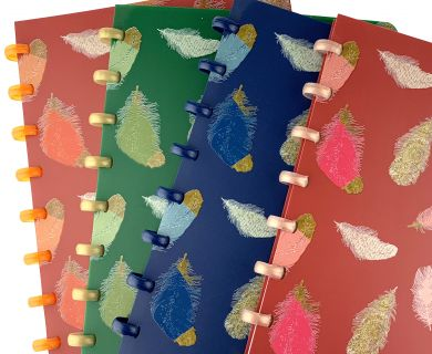 Disc-bound notebooks printed with a feather pattern in a choice of four colours, with complementary discs and white lined paper.
