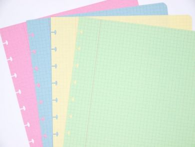 Coloured paper refills for disc-bound notebooks