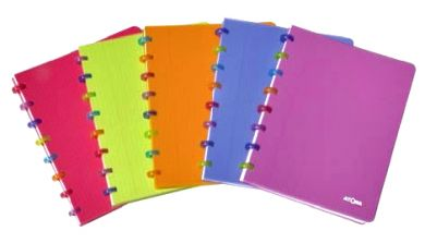 Disc-bound notebooks with bright translucent covers with multi-coloured discs